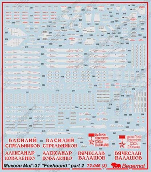 Деколь на 50 вариантов маркировки МиГ-31 ранних и позний серий выпуска, МиГ-31БС, МиГ-31Б, МиГ-31ДЗ и...