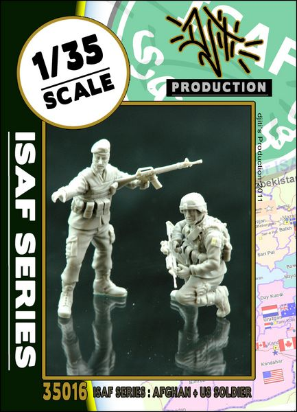Djiti`s production DJI 35016 ISAF series ANA soldier with US soldier