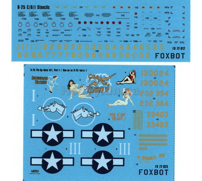 Foxbot FOX 72-023 North American B-25C/D Mitchell «Pin-Up Nose Art and Stencils» Part # 1