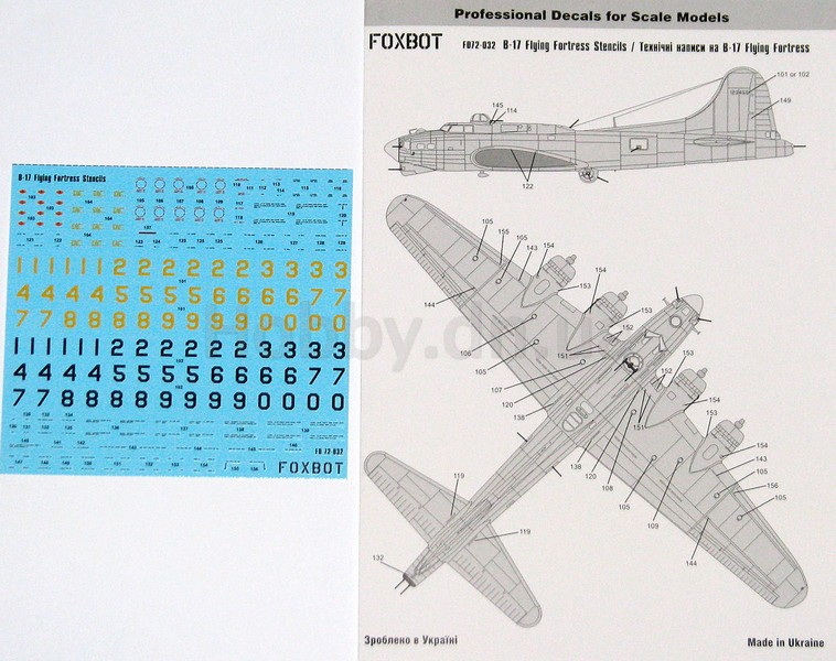 Foxbot FOX 72-032 Stencils for B-17 Flying Fortress