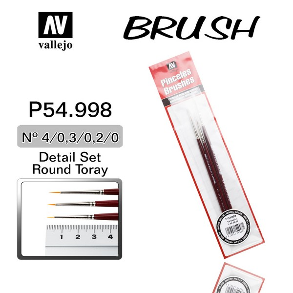 Vallejo VAL P54998 Brushes for Miniatures (4/0, 3/0, 2/0)