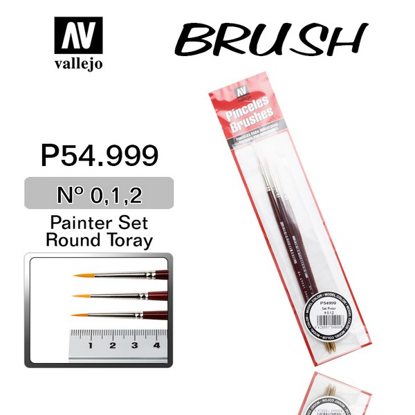 Vallejo VAL P54999 Brushes for Miniatures (0/0, 1/0, 2/0)