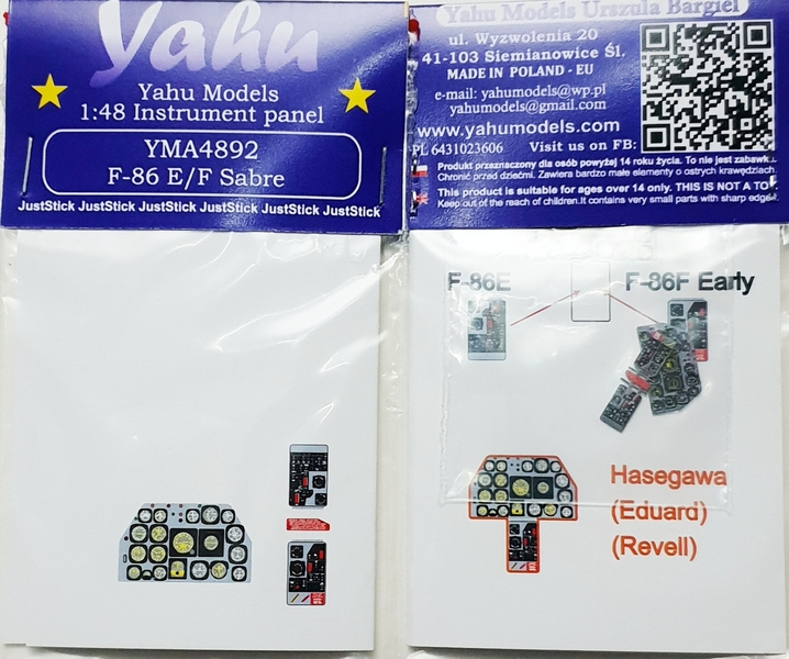 Yahu models YAH YMA4892 Instrumental Panel for North American F-86E/F Sabre